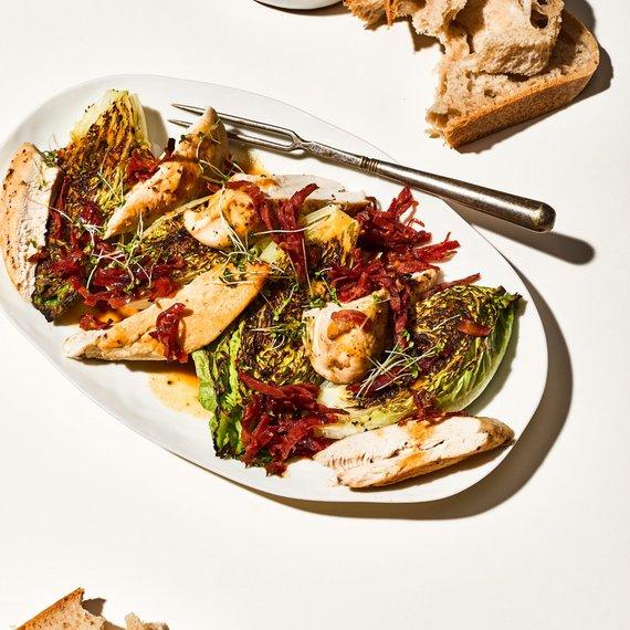 Kuře v medovohořčičné omáčce s opékaným salátem