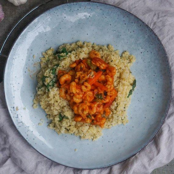 Krevety v sladké chilli omáčce s bulgurem