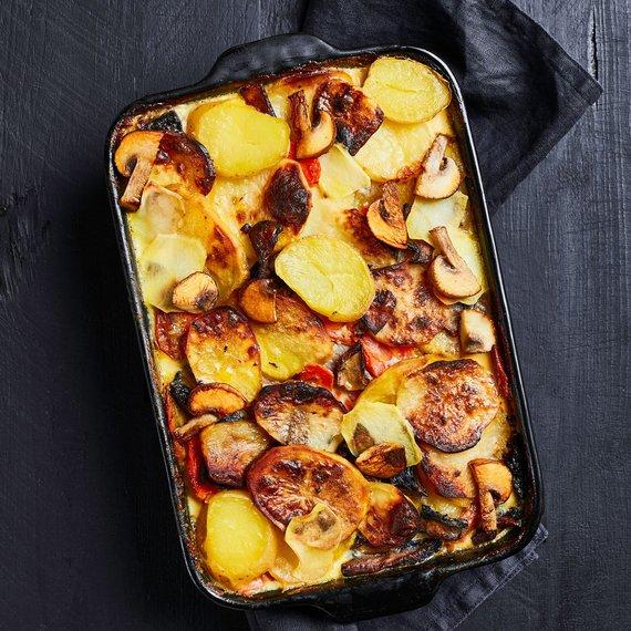 Zapečené brambory s ricottou a žampiony