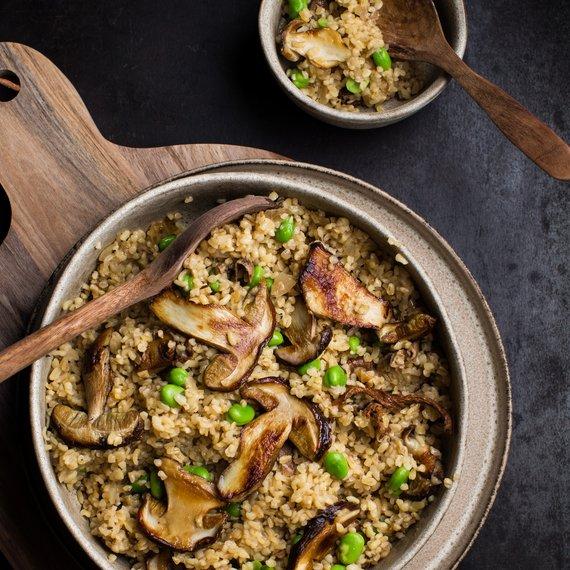 Bulgurové rizoto s houbami