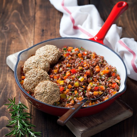 Tofu karbanátky s červenou rýží