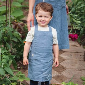 Dětská zástěra MagicLinen – modrá (2–4 roky)