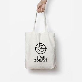 Plátěná taška s potiskem Jíme zdravě – béžová